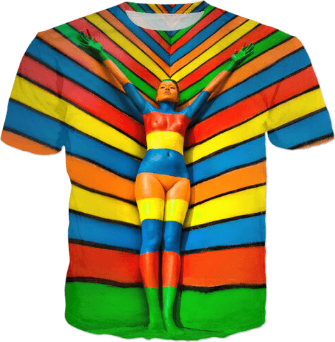 Multicolor Hand Painted Body Painting - T-shirts and Clothes Art by Ben Heine