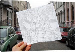 Pencil vs. Camera 47 - Daft Punk - Canvas Print
