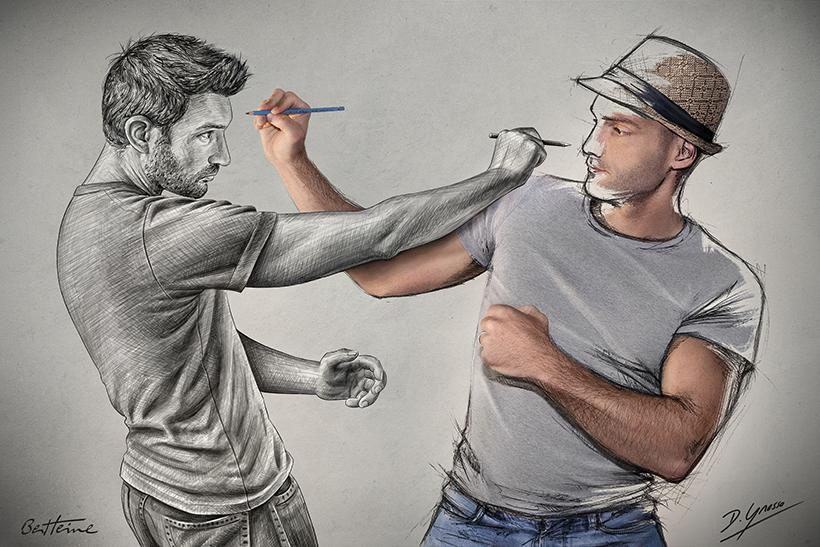 Artists Ben Heine and Sebastien Del Grosso - Sketch Fight